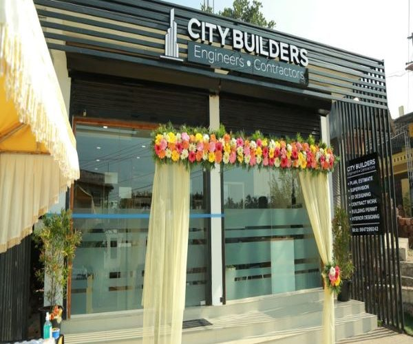 Acrylic LED name board for city builders by fenix advertising agency, the best advertising agency in kannur