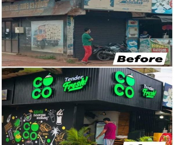 Channel LED name board for COCO by Fenix advertising agency, no 1 leading advertising agency in kannur